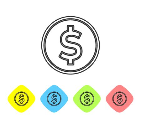 Grey line Coin money with dollar symbol icon isolated on white background. Banking currency sign. Cash symbol. Set icons in color rhombus buttons. Vector Illustration Stock Illustratie