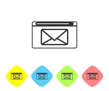 Grey line Mail and e-mail icon isolated on white background. Envelope symbol e-mail. Email message sign. Set icons in color rhombus buttons. Vector Illustration Illusztráció
