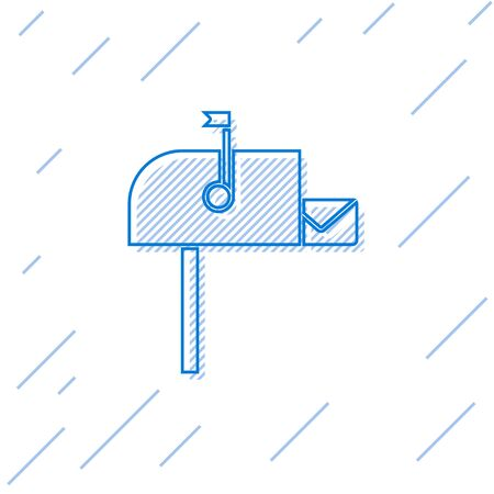 Blue line Open mail box icon isolated on white background. Mailbox icon. Mail postbox on pole with flag.  Vector Illustration Illusztráció