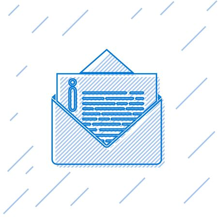 Blue line Envelope icon isolated on white background. Email message letter symbol. Vector Illustration