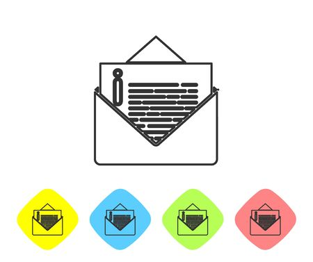 Grey line Envelope icon isolated on white background. Email message letter symbol. Set icons in color rhombus buttons. Vector Illustration