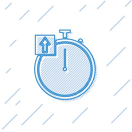 Blue line Stopwatch icon isolated on white background. Time timer sign. Chronometer sign. Vector Illustration