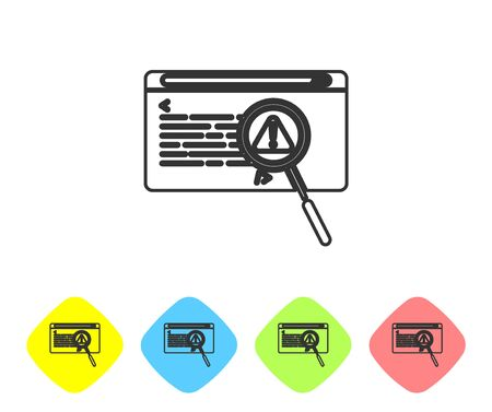 Grey line System bug concept icon isolated on white background. Code bug concept. Bug in the system. Bug searching. Set icons in color rhombus buttons. Vector Illustration