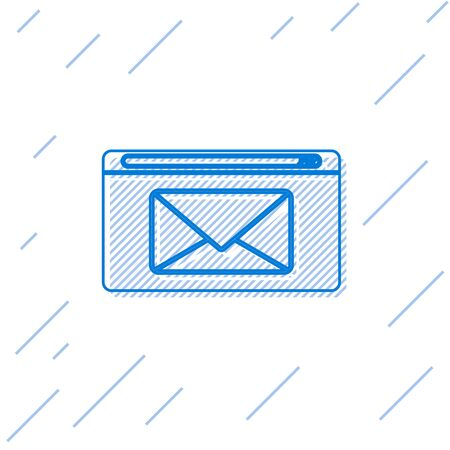 Blue line Mail and e-mail icon isolated on white background. Envelope symbol e-mail. Email message sign.  Vector Illustration Illusztráció