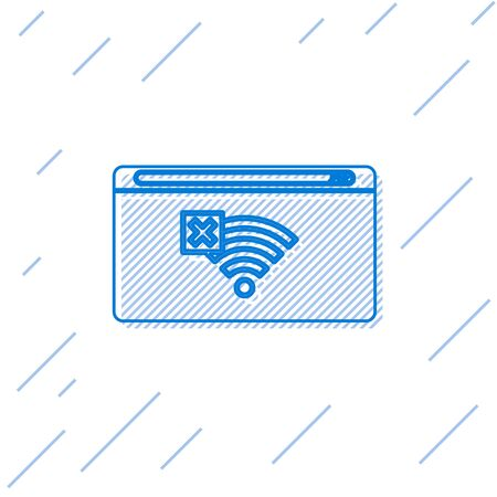 Blue line No Internet connection icon isolated on white background. No wireless wifi or sign for remote internet access. Vector Illustration