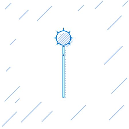 Blue line Medieval chained mace ball icon isolated on white background. Medieval weapon. Vector Illustration