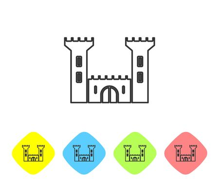 Grey line Castle icon isolated on white background. Fortress sign. Set icons in color rhombus buttons. Vector Illustration