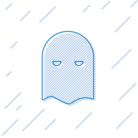 Blue line Executioner mask icon isolated on white background. Hangman, torturer, executor, tormentor, butcher, headsman icon. Vector Illustration
