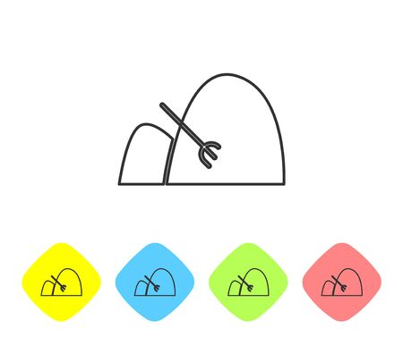 Grey line Bale of hay and rake icon isolated on white background. Set icons in color rhombus buttons. Vector Illustration  イラスト・ベクター素材