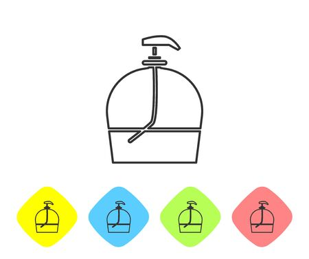Grey line Bottle of liquid antibacterial soap with dispenser icon isolated on white background. Disinfection, hygiene, skin care. Set icons in color rhombus buttons. Vector Illustration
