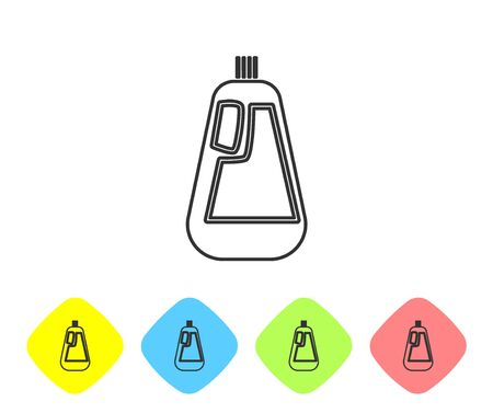 Grey line Plastic bottle for liquid laundry detergent, bleach, dishwashing liquid icon isolated on white background. Set icons in color rhombus buttons. Vector Illustration Ilustração