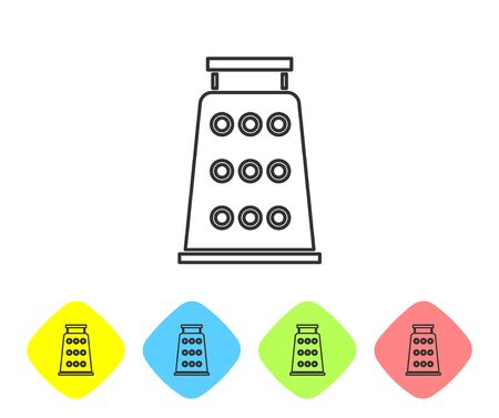 Grey line Grater icon isolated on white background. Kitchen symbol. Cooking utensil. Cutlery sign. Set icons in color rhombus buttons. Vector Illustration