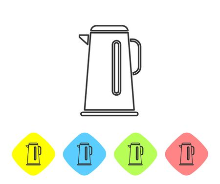 Grey line Kettle with handle icon isolated on white background. Teapot icon. Set icons in color rhombus buttons. Vector Illustration