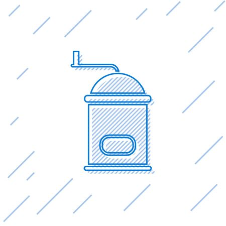 Blue line Manual coffee grinder icon isolated on white background. Vector Illustration
