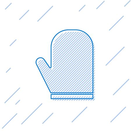 Blue line Oven glove icon isolated on white background. Kitchen potholder sign. Cooking glove. Vector Illustration