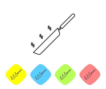 Icono de sartén de línea gris aislado sobre fondo blanco. Símbolo de comida frita o asada. Establecer iconos en botones de rombo de color. Ilustración vectorial