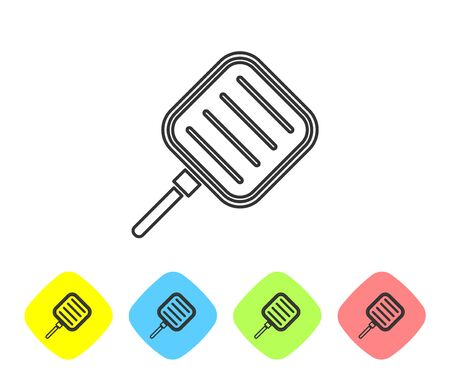 Grey line Frying pan icon isolated on white background. Fry or roast food symbol. Set icons in color rhombus buttons. Vector Illustration