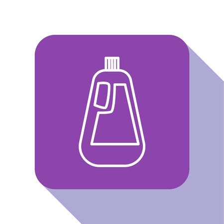 White line Plastic bottle for liquid laundry detergent, bleach, dishwashing liquid icon isolated on white background. Purple square button. Vector Illustration