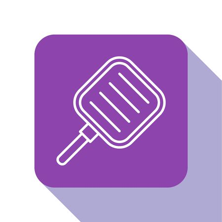 White line Frying pan icon isolated on white background. Fry or roast food symbol. Purple square button. Vector Illustration 일러스트