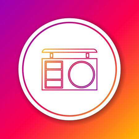 Color line Eye shadow palette with brush icon isolated on color background. Circle white button. Vector Illustration Ilustración de vector