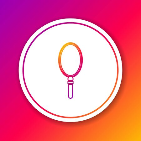 Color line Hand mirror icon isolated on color background. Circle white button. Vector Illustration