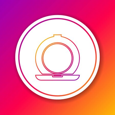 Color line Makeup powder with mirror icon isolated on color background. Circle white button. Vector Illustration