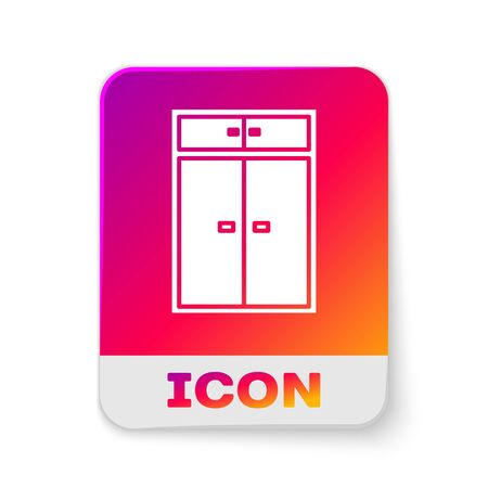 White Wardrobe icon isolated on white background. Rectangle color button. Vector Illustration