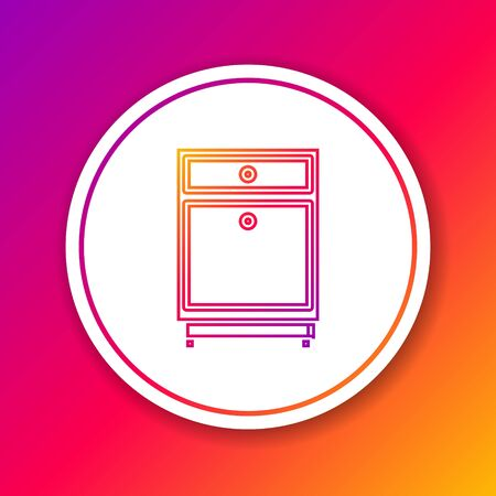 Color line Furniture nightstand icon isolated on color background. Circle white button. Vector Illustration