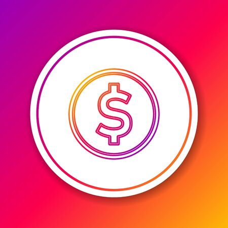 Color line Coin money with dollar symbol icon isolated on color background. Banking currency sign. Cash symbol. Circle white button. Vector Illustration
