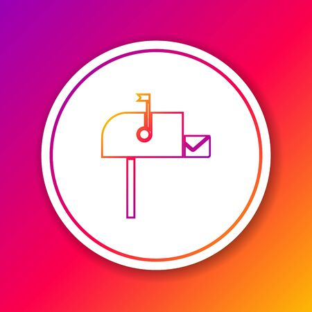 Color line Open mail box icon isolated on color background. Mailbox icon. Mail postbox on pole with flag. Circle white button. Vector Illustration Illusztráció