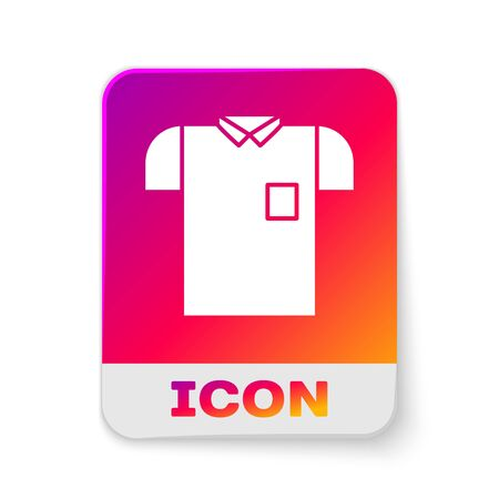 White Polo shirt icon isolated on white background. Rectangle color button. Vector Illustration Vectores