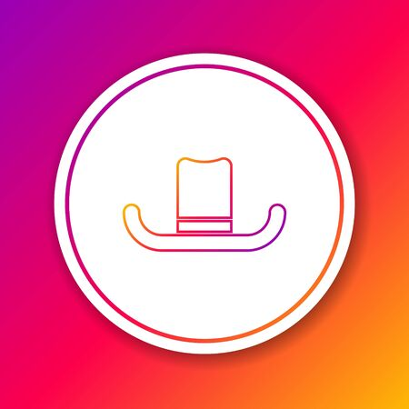 Color line Man hat with ribbon icon isolated on color background. Circle white button. Vector Illustration