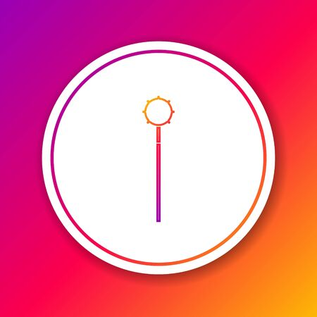 Color line Medieval chained mace ball icon isolated on color background. Medieval weapon. Circle white button. Vector Illustration Ilustração