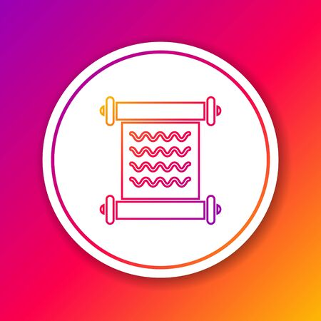 Color line Decree, paper, parchment, scroll icon icon isolated on color background. Circle white button. Vector Illustration