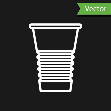 White line Paper glass icon isolated on black background. Soda drink glass. Fresh cold beverage symbol. Vector Illustration