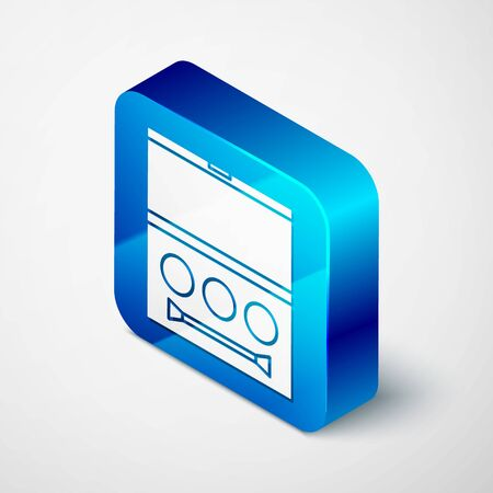 Isometric Eye shadow palette with brush icon isolated on white background. Blue square button. Vector Illustration