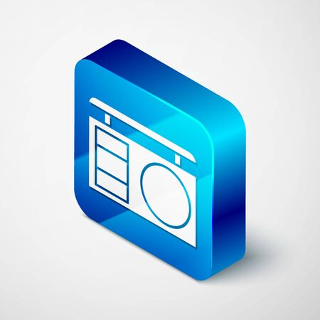 Isometric Eye shadow palette with brush icon isolated on white background. Blue square button. Vector Illustration Ilustración de vector