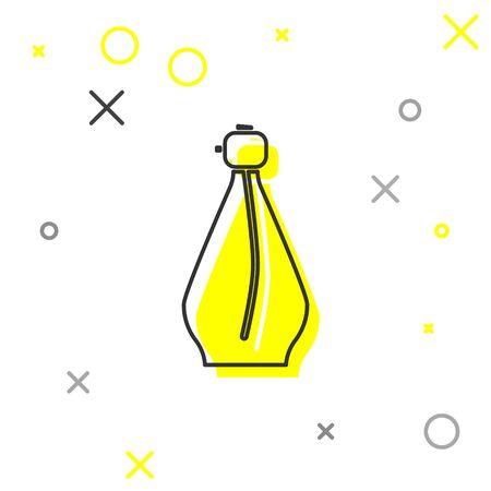 Grey line Perfume icon isolated on white background.  Vector Illustration