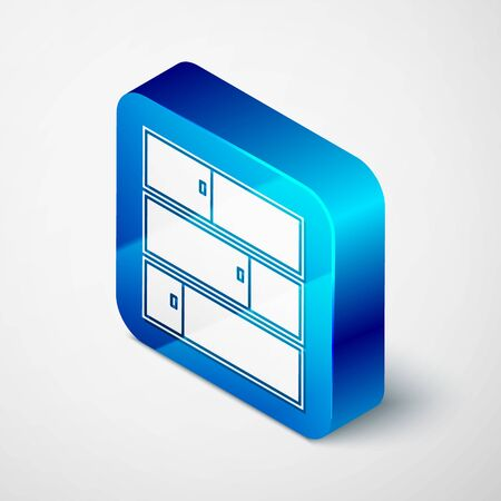 Isometric Shelf icon isolated on white background. Shelves sign. Blue square button. Vector Illustration