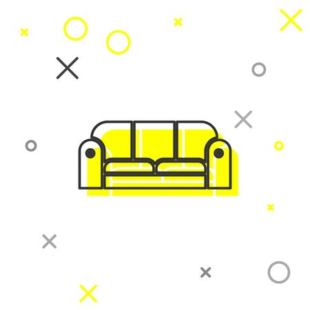 Grey line Sofa icon isolated on white background.  Vector Illustration