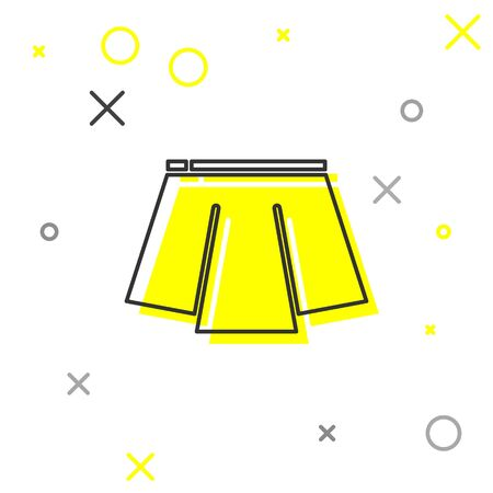 Grey line Skirt icon isolated on white background. Vector Illustration