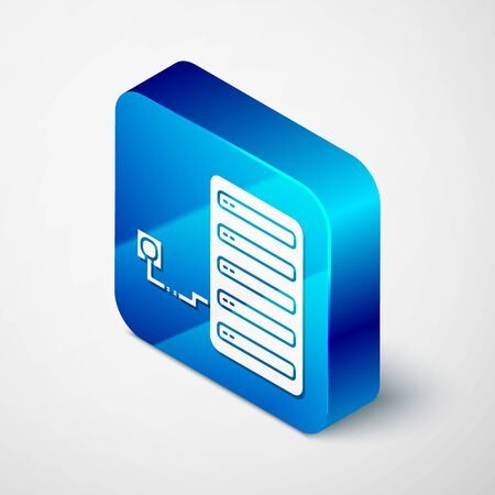 Isometric Server icon isolated on white background. Adjusting app, service concept, setting options, maintenance, repair, fixing. Blue square button. Vector Illustration