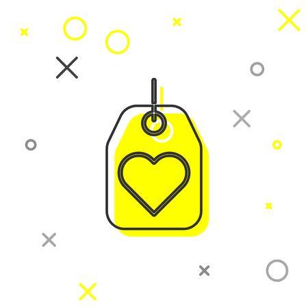 Grey line Heart tag icon isolated on white background. Love symbol. Valentine day symbol.  Vector Illustration Illusztráció