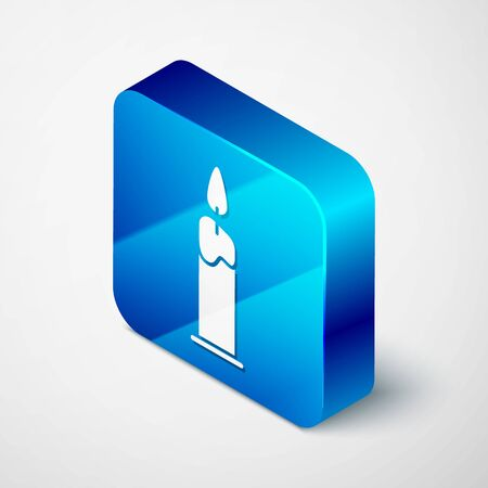 Isometric Burning candle in candlestick icon isolated on white background. Cylindrical candle stick with burning flame. Blue square button. Vector Illustration
