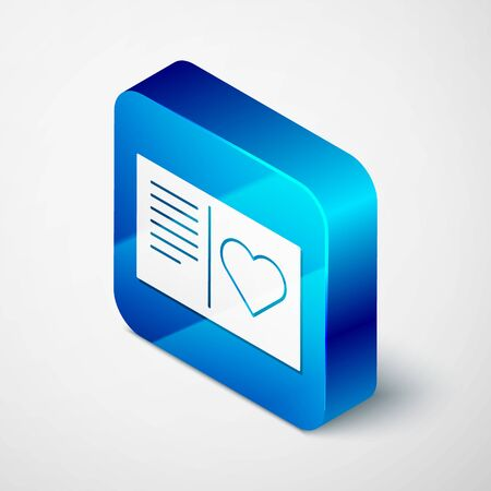 Isometric Valentines day flyer with heart icon isolated on white background. Celebration poster template for invitation or greeting card. Blue square button. Vector Illustration