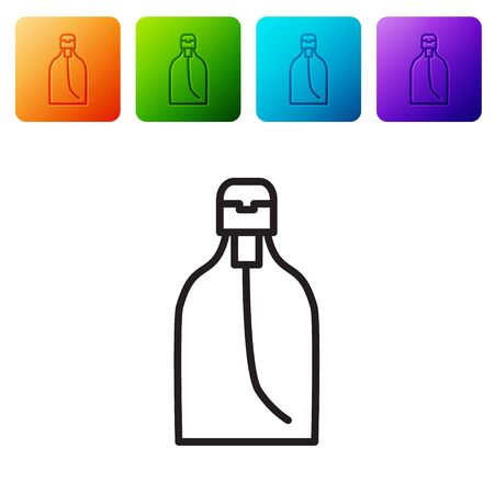 Black line Bottle of liquid antibacterial soap with dispenser icon isolated on white background. Disinfection, hygiene, skin care. Set icons in color square buttons. Vector Illustration