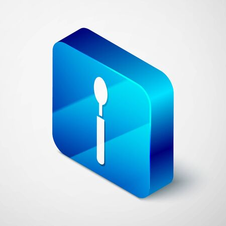 Isometric Spoon icon isolated on white background. Cooking utensil. Cutlery sign. Blue square button. Vector Illustration