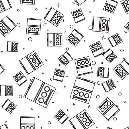 Black line Eye shadow palette with brush icon isolated seamless pattern on white background. Vector Illustration Ilustración de vector