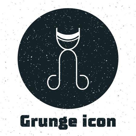 Grunge Eyelash curler icon isolated on white background. Makeup tool sign.  Vector Illustration