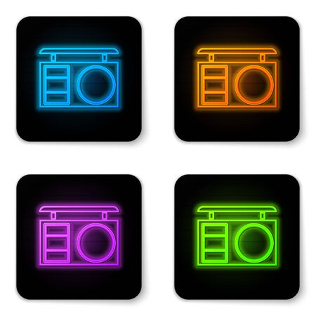 Glowing neon Eye shadow palette with brush icon isolated on white background. Black square button. Vector Illustration